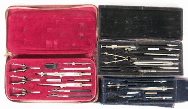 14: 3 Vintage Drafting Sets: 1 Complete & 2 Partials