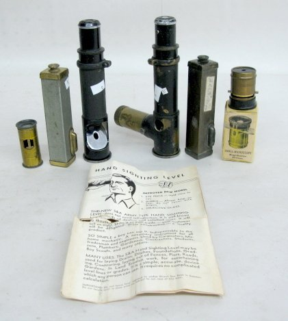 15: 2 Vintage Hand Held Levels & 4 Microscopes