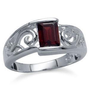 20A: 1.20 Ct Genuine Garnet Sterling Silver Ring