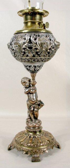 21: Brass & Metal Cupid Filigree Table Lamp Base