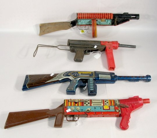 24: 4 Vintage Toy Machine Guns: Marx, Mattel, Plus