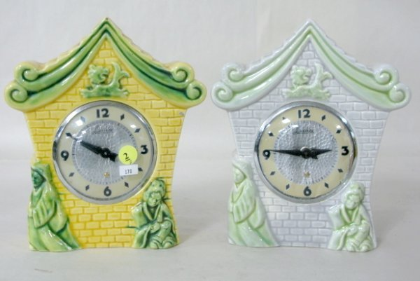 2: Pair of Electric Lanshire Pottery Clocks