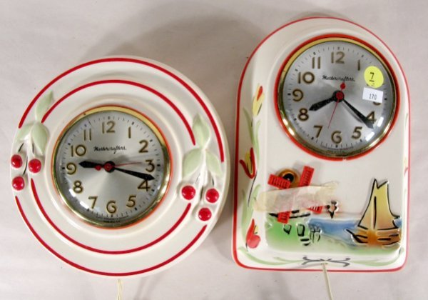7: 2 Mastercrafters Pottery Electric Clocks