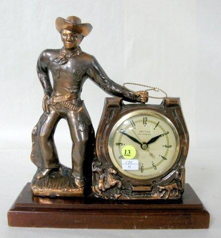 13: United Clock Co. Metal Cowboy Clock