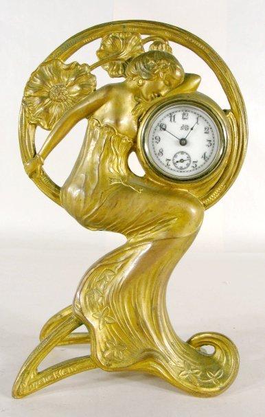 20: Jennings Bros Art Nouveau Lady Clock