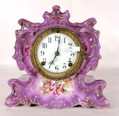 62: Ansonia Whisper China Mantle Clock