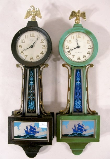 79: 2 New Haven Willis Miniature Banjo Clocks