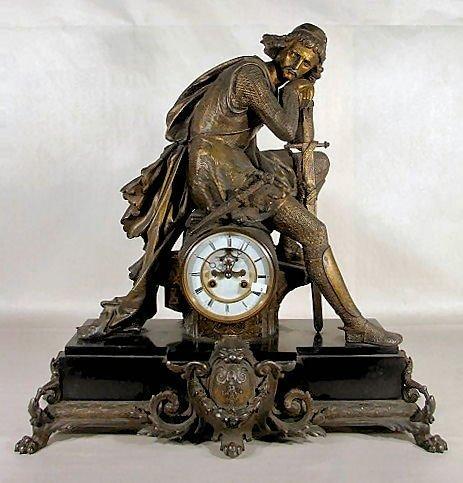190: Slate & Spelter French Statue Clock
