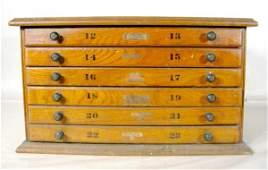 213: Oak 6 Drawer Parts Cabinet
