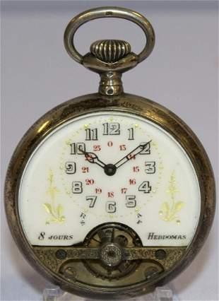 .800 Silver Hebdomas 40mm 8hr Pocket Watch