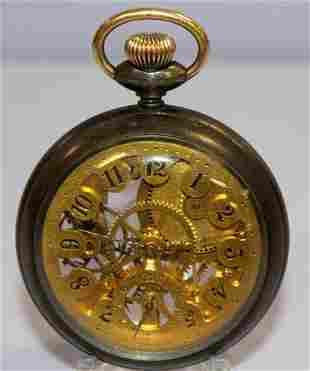 N.E.W. Co. 16S Duplex Skeletonized Pocket Watch