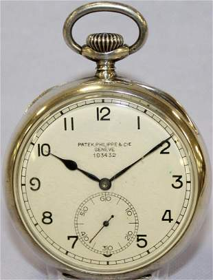 S. Silver Patek Philippe & Cie 23J Pocket Watch