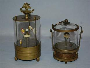 2 Vintage Animated Fish Aquarium Clocks