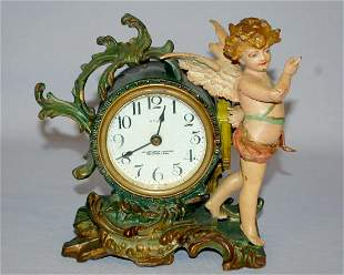 Antique New Haven Winged Cherub Novelty Clock