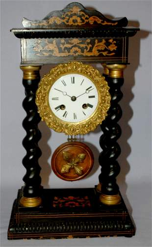 """Antique French """"Inlay"""" Portico Mantle Clock"""