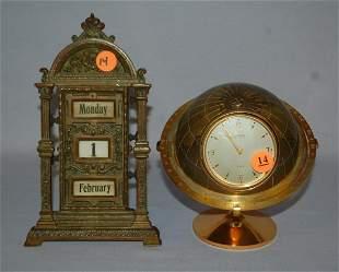 2 Clocks - Desk and Scroll Calendar