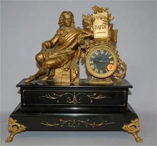 Antique French Black Slate Figure Mantle Clock