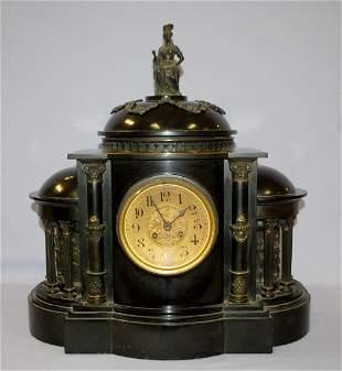 Antique AD Mougin Black Slate Cathidrial Mantle Clock