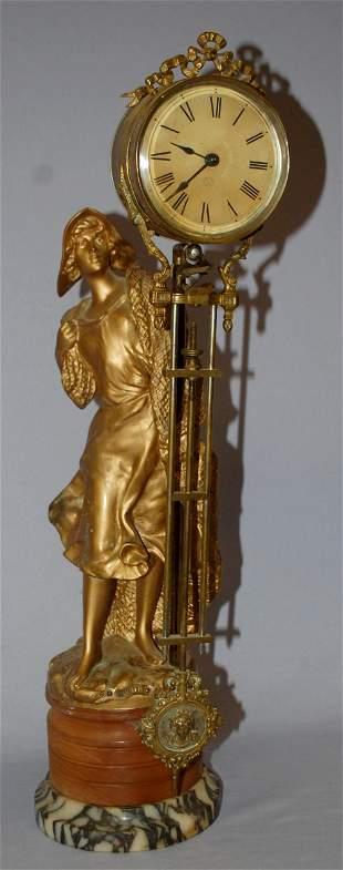 "Antique ""Peche"" French Statue Swinging Mantle Clock"