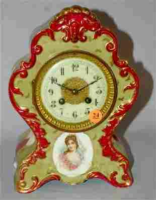 Antique L. Marti Porcelain Potrait Mantle Clock