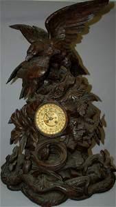 Large Black Forest Clock w/ Eagles & Eaglets