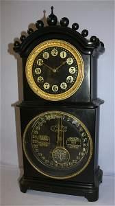 """Ithaca Double Dial Calendar Clock """"Melrose"""" Black"""
