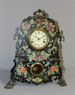 Antique American Iron Face Mantle Clock