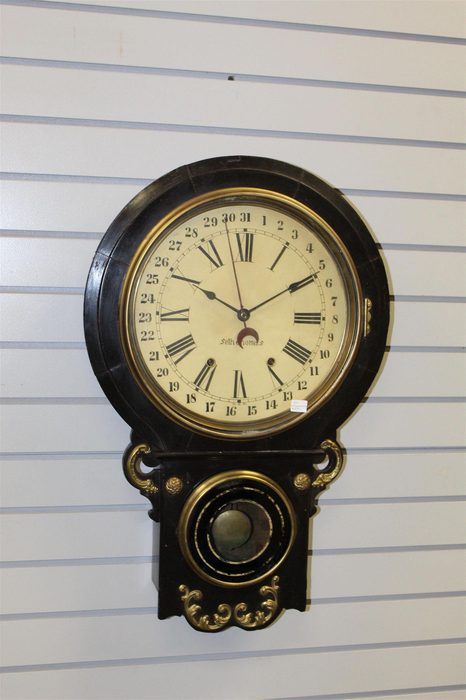 "Antique Seth Thomas ""Rio"" Calender Dial Wall Clock"