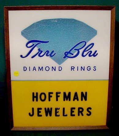 501: Tru-Blue Diamond Rings Jewelers Lighted Sign NR