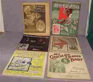 6 pc Afro American Large Folio Sheet Music NR