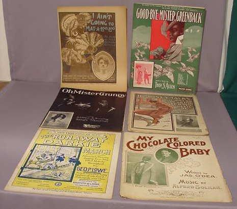 503: 6 pc Afro American Large Folio Sheet Music NR