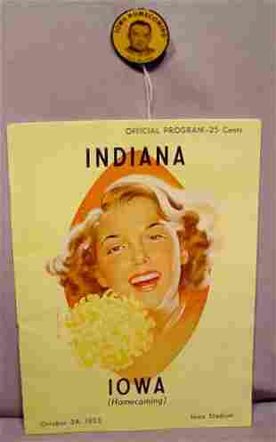 1953 Iowa Hawkeye Homecoming Program & Badge NR