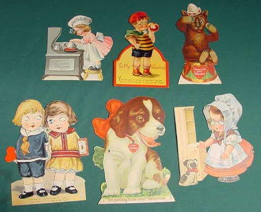 512: 10 Vintage Mechanical Fold Out Valentine Cards NR