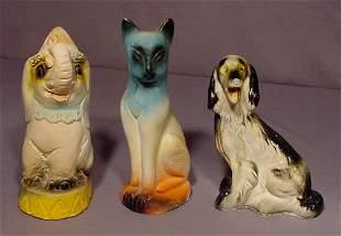 3 Carnival Chalkware Animals: Elephant, Dog & Cat