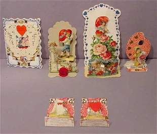 6pc Vintage Valentines: German, Fold Outs etc NR