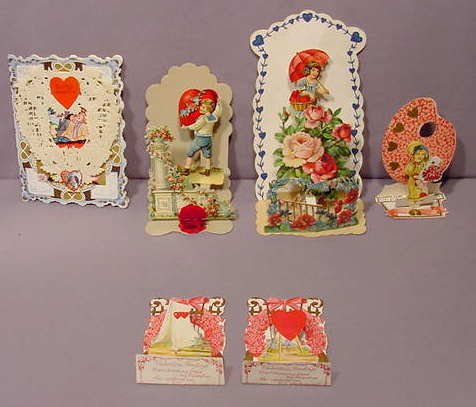 522: 6pc Vintage Valentines: German, Fold Outs etc NR