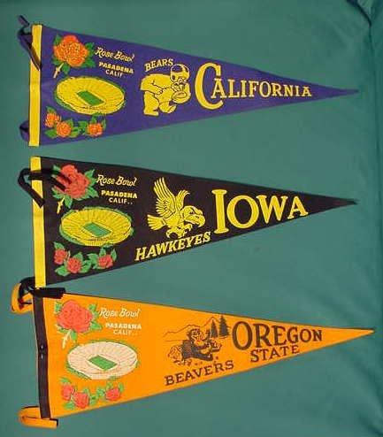 524: 3 50's Rose Bowl Felt Pennants IA Hawkeyes, Bears
