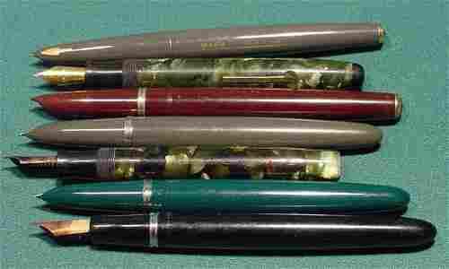565: 7 Parker Fountain Pens: Vacumatic Parkette NR
