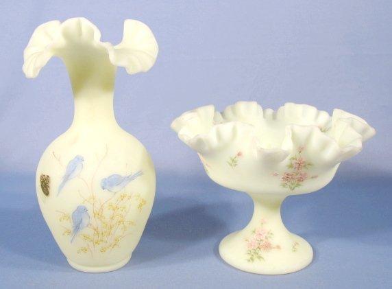 3: Fenton Custard Satin Glass Compote & Vase