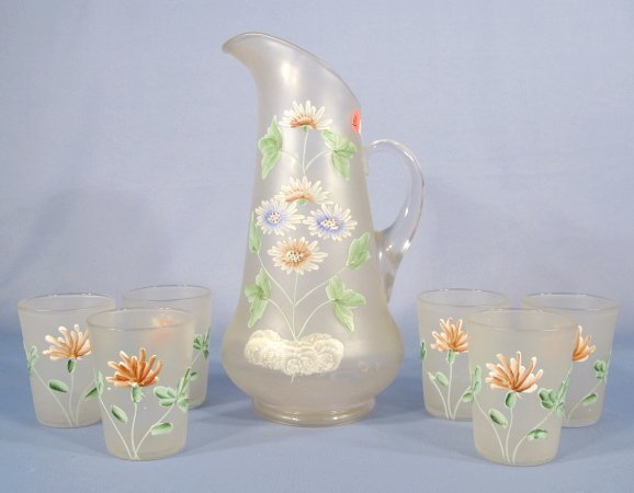 10: 7pc Enamel Decorated Frosted Glass Water Set