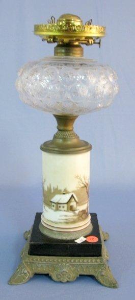 11A: Composite Stemmed Pattern Glass Kerosene Lamp