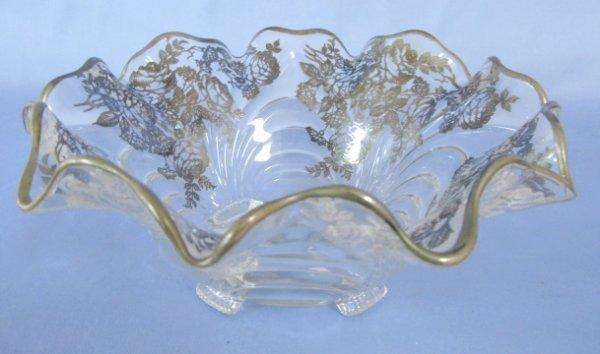 12: Cambridge Caprice Silver Resist Clear Pattern Bowl
