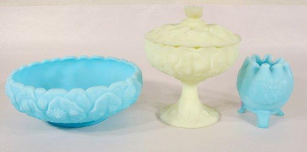 14: 3 Fenton Blue & Custard Satin Glass Items