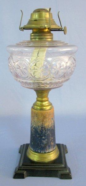 19A: Composite Stemmed Pattern Glass Kerosene Lamp