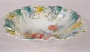 50: Marked RS Prussia Floral Mold 28 Bowl