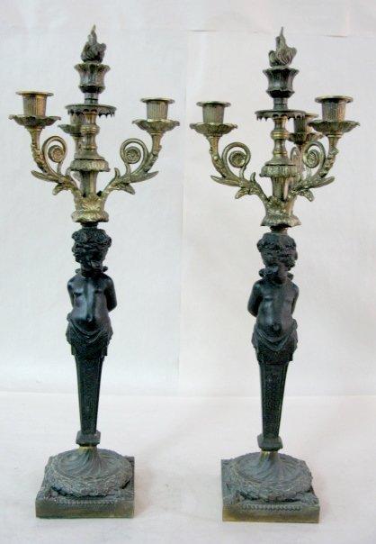 5: Pair of Cherub Figural Candlesticks
