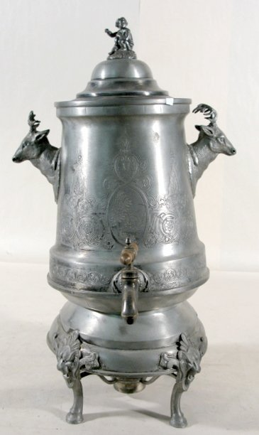 7: Pewter Hot Water Urn w/ Stags Heads