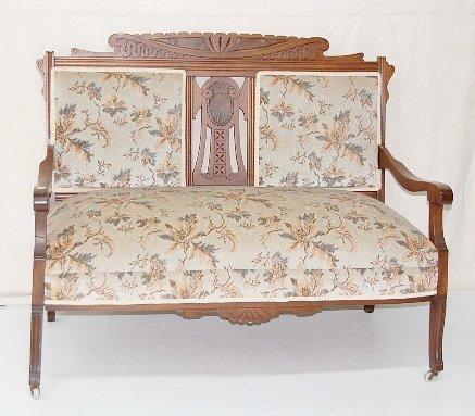 10: Carved Eastlake Upholstered Settee