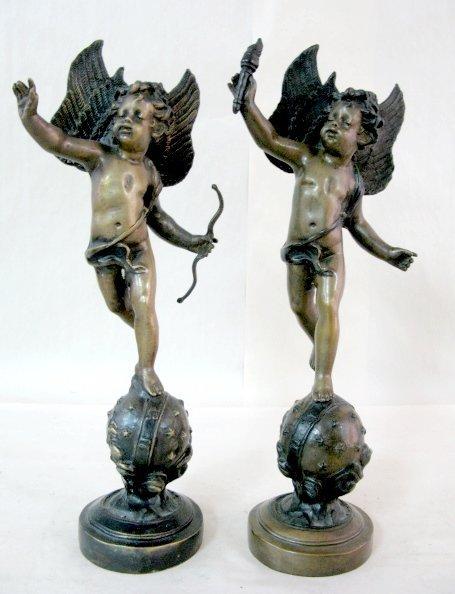 11: Pair of Non-Antique Bronze & Metal Figures