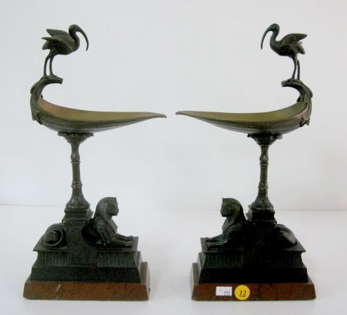 12: Pair of Egyptian Sphinx Side Pieces